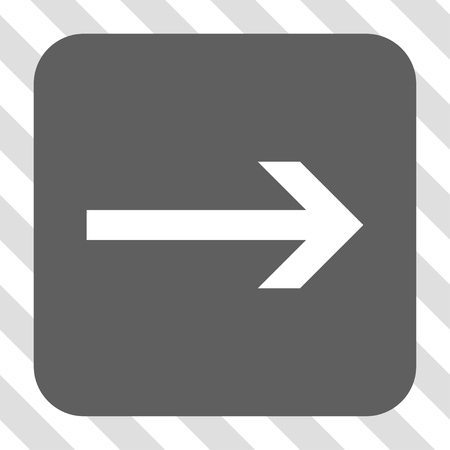 propel: Arrow Right interface button. Vector pictogram style is a flat symbol centered in a rounded square button, white and gray colors, hatched diagonally transparent background. Illustration