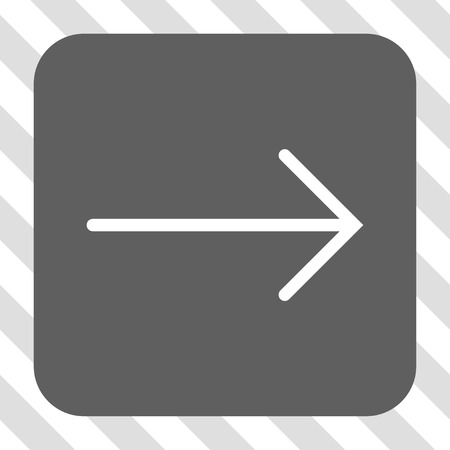 redirect: Arrow Right interface button. Vector pictogram style is a flat symbol inside a rounded square button, white and gray colors, hatched diagonally transparent background. Illustration