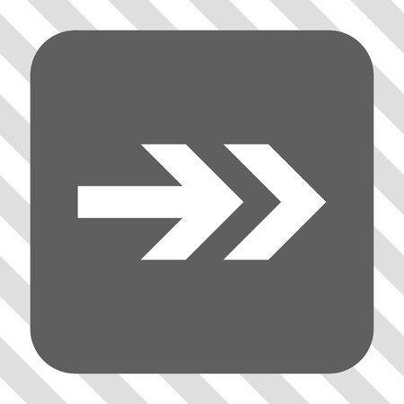centered: Arrow Right rounded button. Vector pictogram style is a flat symbol centered in a rounded square button, white and gray colors, hatched diagonally transparent background. Illustration
