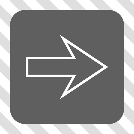 propel: Arrow Right interface toolbar button. Vector pictograph style is a flat symbol in a rounded square button, white and gray colors, hatched diagonally transparent background. Illustration