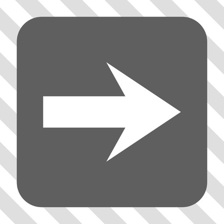 Arrow Right interface toolbar button. Vector pictograph style is a flat symbol on a rounded square button, white and gray colors, hatched diagonally transparent background. Illustration
