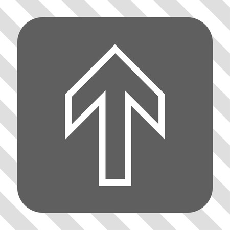 Bouton de la barre d'outils de l'interface flèche vers le haut. Style de pictogramme de vecteur est un symbole plat dans un bouton carré arrondi, couleurs blanc et gris, fond transparent diagonalement hachuré.