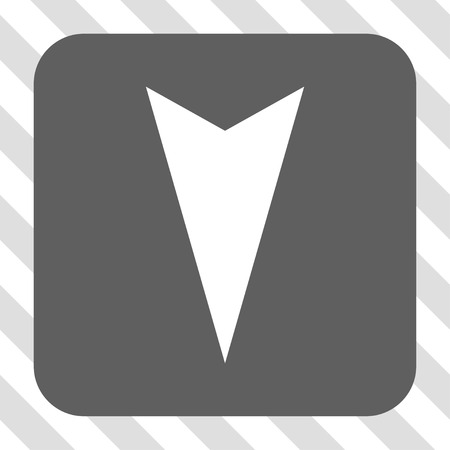 arrowhead: Arrowhead Down interface button. Vector pictograph style is a flat symbol in a rounded square button, white and gray colors, hatched diagonally transparent background.
