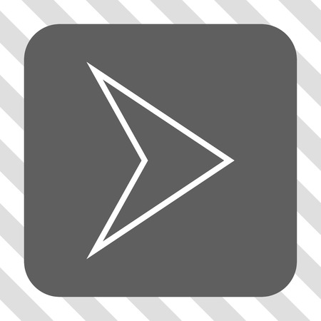 redirect: Arrowhead Right interface toolbar icon. Vector pictogram style is a flat symbol centered in a rounded square button, white and gray colors, hatched diagonally transparent background. Illustration