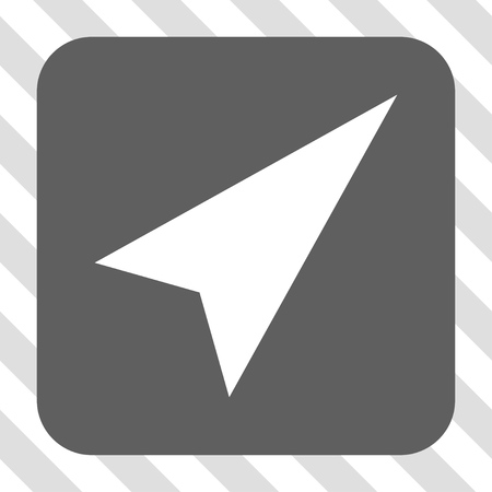 northeast: Arrowhead Right-Up interface icon. Vector pictogram style is a flat symbol on a rounded square button, white and gray colors, hatched diagonally transparent background.