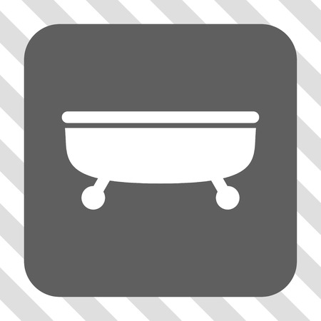 centered: Bathtub interface icon. Vector pictogram style is a flat symbol centered in a rounded square button, white and gray colors, hatched diagonally transparent background. Illustration