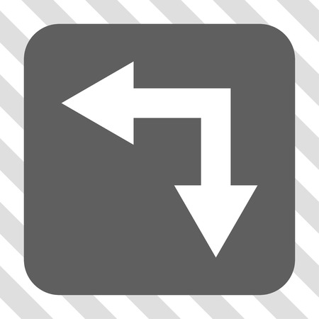 bifurcation: Bifurcation Arrow Left Down toolbar icon. Vector pictogram style is a flat symbol inside a rounded square button, white and gray colors, hatched diagonally transparent background. Illustration