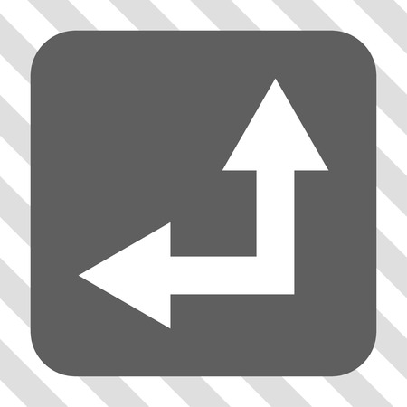 bifurcation: Bifurcation Arrow Left Up interface toolbar button. Vector pictograph style is a flat symbol on a rounded square button, white and gray colors, hatched diagonally transparent background.