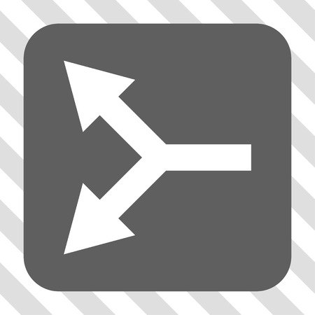 bifurcation: Bifurcation Arrow Left rounded icon. Vector pictogram style is a flat symbol centered in a rounded square button, white and gray colors, hatched diagonally transparent background.