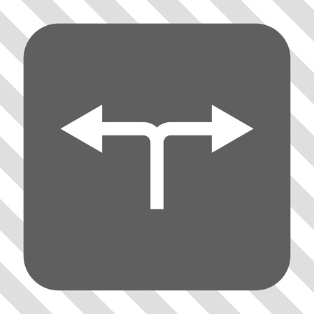 bifurcation: Bifurcation Arrows Left Right rounded icon. Vector pictogram style is a flat symbol centered in a rounded square button, white and gray colors, hatched diagonally transparent background.