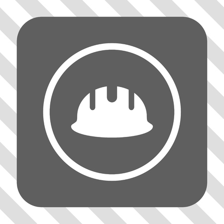 hardhat: Builder Hardhat interface toolbar icon. Vector pictograph style is a flat symbol on a rounded square button, white and gray colors, hatched diagonally transparent background.