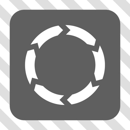 circling: Circulation interface toolbar button. Vector pictogram style is a flat symbol in a rounded square button, white and gray colors, hatched diagonally transparent background.