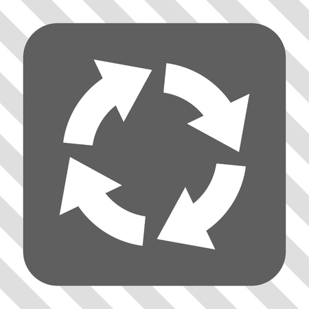 circling: Circulation toolbar icon. Vector pictograph style is a flat symbol centered in a rounded square button, white and gray colors, hatched diagonally transparent background.