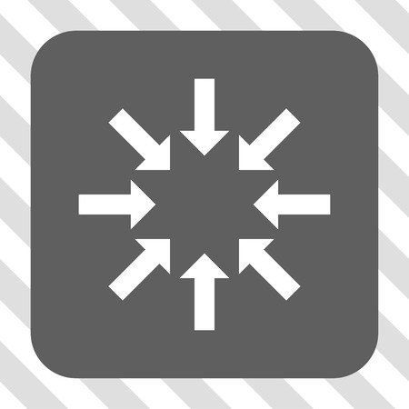 collapse: Collapse Arrows interface button. Vector pictogram style is a flat symbol on a rounded square button, white and gray colors, hatched diagonally transparent background.
