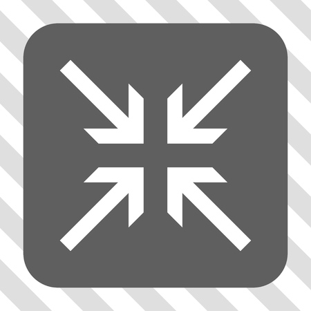 collide: Collide Arrows square button. Vector pictograph style is a flat symbol inside a rounded square button, white and gray colors, hatched diagonally transparent background.