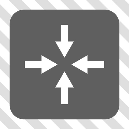 Compress Arrows interface button. Vector pictogram style is a flat symbol in a rounded square button, white and gray colors, hatched diagonally transparent background.
