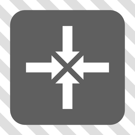 clash: Compress Arrows interface toolbar icon. Vector pictograph style is a flat symbol on a rounded square button, white and gray colors, hatched diagonally transparent background.