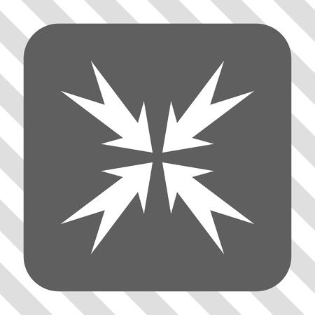 compression: Compression Arrows interface icon. Vector pictogram style is a flat symbol in a rounded square button, white and gray colors, hatched diagonally transparent background. Illustration