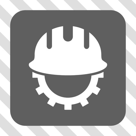 centered: Development Hardhat interface toolbar button. Vector pictograph style is a flat symbol centered in a rounded square button, white and gray colors, hatched diagonally transparent background.