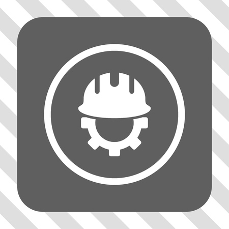 hardhat: Development Hardhat toolbar icon. Vector pictograph style is a flat symbol centered in a rounded square button, white and gray colors, hatched diagonally transparent background.