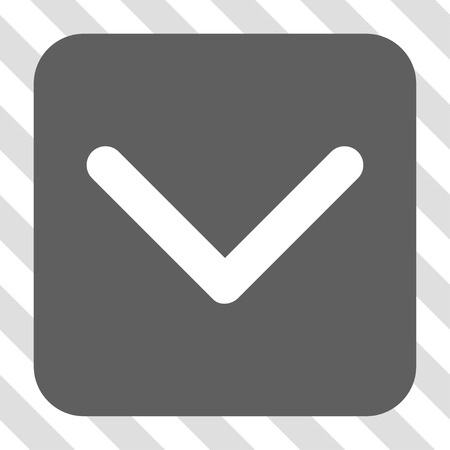redirect: Direction Down rounded icon. Vector pictogram style is a flat symbol in a rounded square button, white and gray colors, hatched diagonally transparent background.
