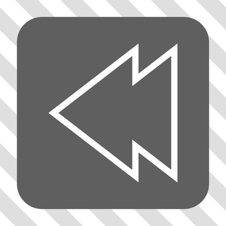 redirect: Direction Left square icon. Vector pictogram style is a flat symbol centered in a rounded square button, white and gray colors, hatched diagonally transparent background.