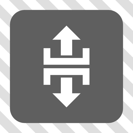 splitter: Divide Vertical Direction rounded icon. Vector pictograph style is a flat symbol on a rounded square button, white and gray colors, hatched diagonally transparent background.
