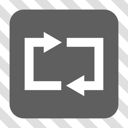 centered: Exchange Arrows square button. Vector pictogram style is a flat symbol centered in a rounded square button, white and gray colors, hatched diagonally transparent background.