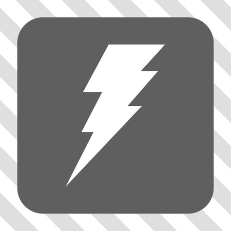 execute: Execute interface toolbar icon. Vector pictogram style is a flat symbol centered in a rounded square button, white and gray colors, hatched diagonally transparent background. Illustration