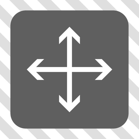 expand: Expand Arrows rounded button. Vector pictograph style is a flat symbol in a rounded square button, white and gray colors, hatched diagonally transparent background.