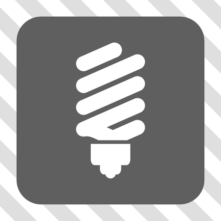 gray bulb: Fluorescent Bulb interface button. Vector pictograph style is a flat symbol centered in a rounded square button, white and gray colors, hatched diagonally transparent background. Illustration