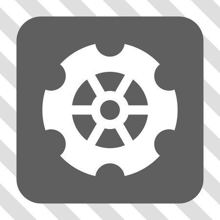 diagonally: Gear interface icon. Vector pictogram style is a flat symbol in a rounded square button, white and gray colors, hatched diagonally transparent background. Illustration