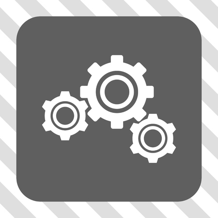 config: Gears rounded icon. Vector pictogram style is a flat symbol in a rounded square button, white and gray colors, hatched diagonally transparent background. Illustration