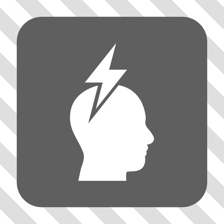 headaches: Headache interface toolbar button. Vector pictogram style is a flat symbol on a rounded square button, white and gray colors, hatched diagonally transparent background. Illustration