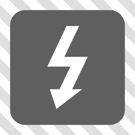high voltage symbol: High Voltage interface icon. Vector pictogram style is a flat symbol centered in a rounded square button, white and gray colors, hatched diagonally transparent background. Illustration