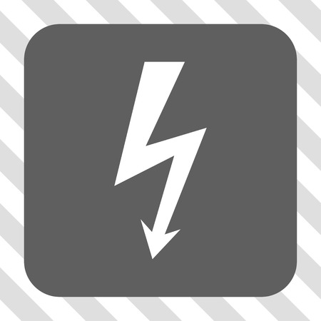 high voltage symbol: High Voltage interface toolbar icon. Vector pictograph style is a flat symbol on a rounded square button, white and gray colors, hatched diagonally transparent background.