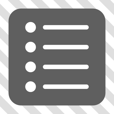 numerate: Items rounded icon. Vector pictogram style is a flat symbol in a rounded square button, white and gray colors, hatched diagonally transparent background. Illustration