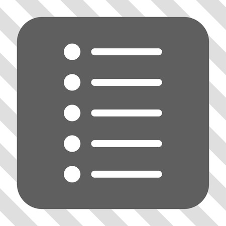 numerate: Items toolbar button. Vector pictograph style is a flat symbol in a rounded square button, white and gray colors, hatched diagonally transparent background. Illustration