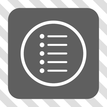 numerate: Items rounded icon. Vector pictograph style is a flat symbol on a rounded square button, white and gray colors, hatched diagonally transparent background.