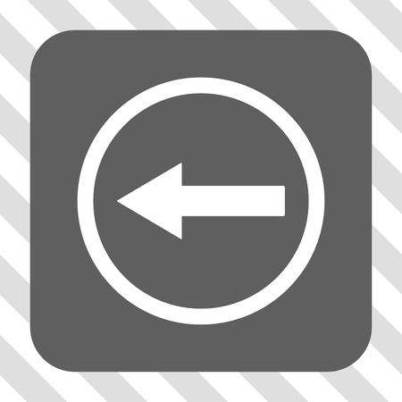 rounded: Left Rounded Arrow rounded button. Vector pictograph style is a flat symbol on a rounded square button, white and gray colors, hatched diagonally transparent background.