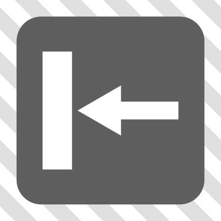 Move Left rounded button. Vector pictogram style is a flat symbol inside a rounded square button, white and gray colors, hatched diagonally transparent background.