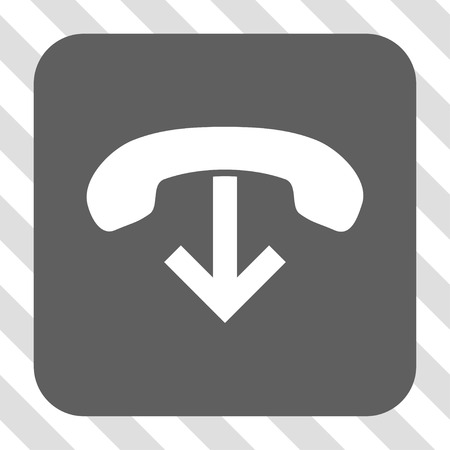 hang up: Phone Hang Up square button. Vector pictogram style is a flat symbol centered in a rounded square button, white and gray colors, hatched diagonally transparent background.
