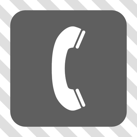 phone receiver: Phone Receiver interface icon. Vector pictogram style is a flat symbol centered in a rounded square button, white and gray colors, hatched diagonally transparent background. Illustration