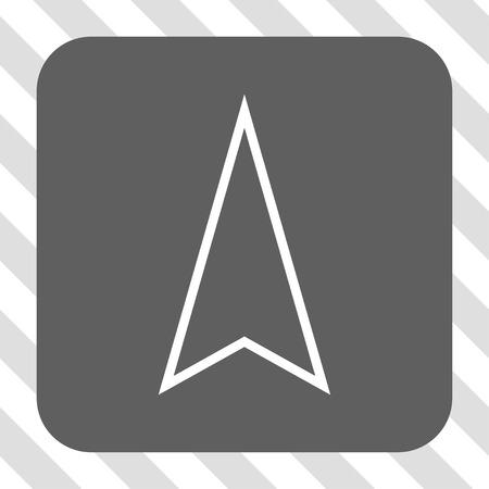 Icône de la barre d'outils Pointeur haut. Style de pictogramme de vecteur est un symbole plat à l'intérieur d'un bouton carré arrondi, les couleurs blanches et grises, fond transparent diagonalement hachuré.