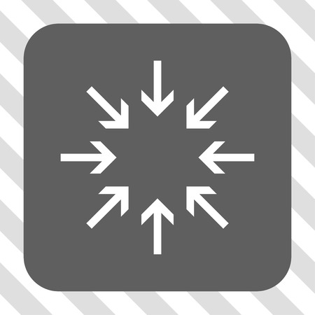 concentrate: Pressure Arrows interface toolbar icon. Vector pictograph style is a flat symbol inside a rounded square button, white and gray colors, hatched diagonally transparent background.