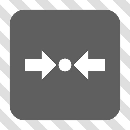 clash: Pressure Horizontal interface icon. Vector pictogram style is a flat symbol on a rounded square button, white and gray colors, hatched diagonally transparent background.