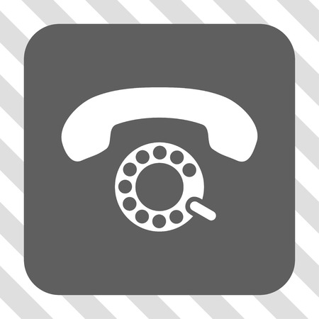 pulsing: Pulse Dialing interface icon. Vector pictogram style is a flat symbol on a rounded square button, white and gray colors, hatched diagonally transparent background. Illustration