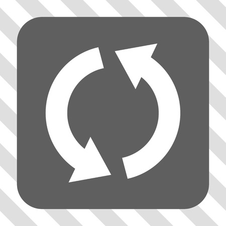 utilization: Recycle square icon. Vector pictogram style is a flat symbol on a rounded square button, white and gray colors, hatched diagonally transparent background.