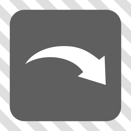 redo: Redo interface toolbar icon. Vector pictograph style is a flat symbol centered in a rounded square button, white and gray colors, hatched diagonally transparent background. Illustration