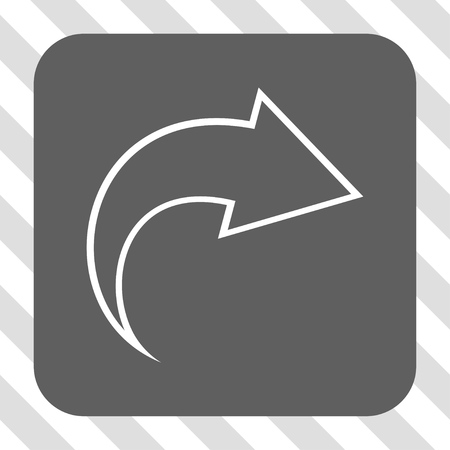 redo: Redo interface toolbar icon. Vector pictograph style is a flat symbol in a rounded square button, white and gray colors, hatched diagonally transparent background.